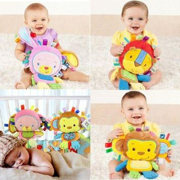 CREYLD1 8 Styles Baby Toys Rattles Pacify Doll Plush Baby Rattles Toys Animal Hand Bells Newbron Animal elephant/monkey/lion/rabbit