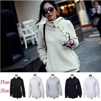 Korea Style Womens Hoodie Jacket Coat Warm Outerwear Hooded Zip = 1930472388