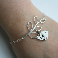 Initial leaf bracelet silver bird personalize by DelicacyJ on Etsy