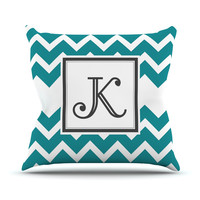 "KESS Original ""Monogram Chevron Teal"" Throw Pillow"