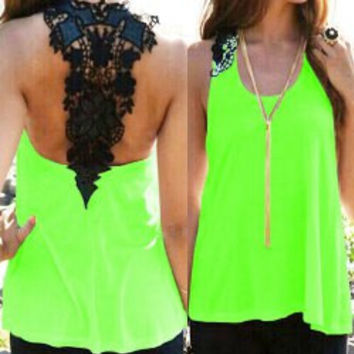 Blue and Neon Green Lace Backless Tank Top
