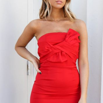 Feeling A Way Red Strapless Mini Dress