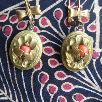 Upcycled Vintage Brass and Coral Glass dangles on Antique Brass Bow Leverbacks, pierced ears