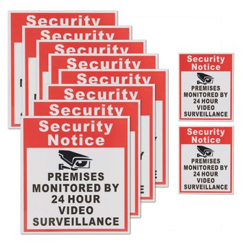 10Pcs Camera Video Surveillance Sign Sticker Security Notice Premises Monitored By 24 Hour