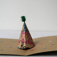 Care Collection - 3D Pop Up Party Hat Birthday Card - Ecological Green Environmentally Friendly Recycled Paper Greeting Card