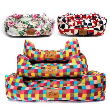 Autumn Winter Cat Dog Bed Removable Canvas Creative Dog House Bed Washable Pet Cat Dogs Beds For Small/large Dogs Sofa  Nest