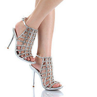 Prom Shoes, High Heels, Sexy Shoes, Formal Dress Shoes- PromGirl: Celeste Ocean-16 Rhinestone Dressy Evening Sandal