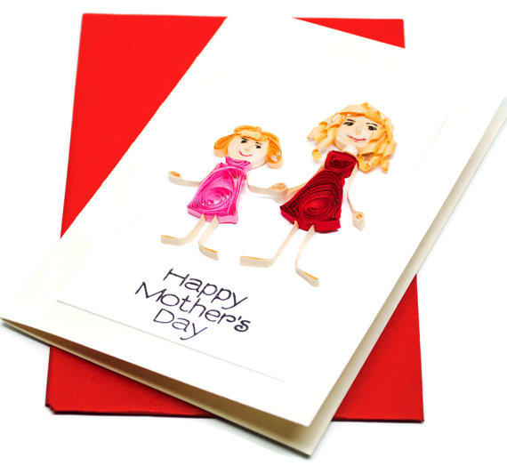 Mothers day card paper quilling from ofthingspretty on etsy m4hsunfo