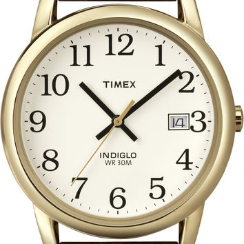 Timex Mens Easy Reader Brown Leather Strap Watch