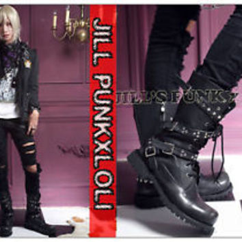 Kera Punk 4-buckle Zipper Stud 10-hole Calf  Boots 37