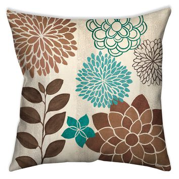 Abstract Garden Blue I Indoor Decorative Pillow