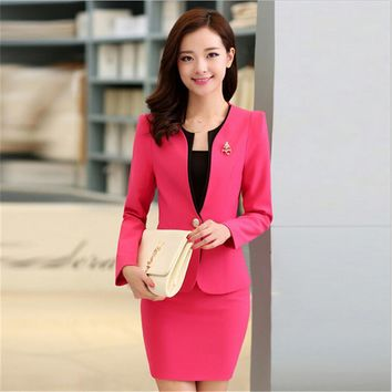 3XL Women Skirt Suits Candy Color Women Business Suits Office Uniform Designs Women Elegant Work New Fashion Blazer Feminino