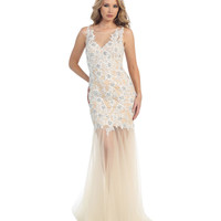 Off White & Nude Open Back Beaded Lace Gown 2015 Prom Dresses