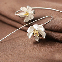 S925 Sterling Silver Flower Ear Cuff,Bud Earrings,U ear Pin,Open Hook Earrings,Bridal Earrings YZ008