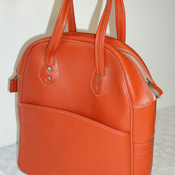 Orange Tote Small Vintage Weekender Satchel