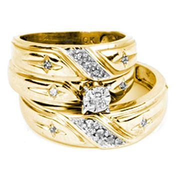 14kt Yellow Gold His & Hers Round Diamond Solitaire Matching Bridal Wedding Ring Band Set 1/6 Cttw - FREE Shipping (US/CAN)
