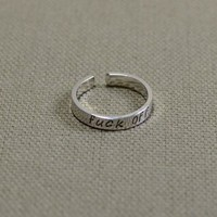 Fuck Off Sterling Silver Toe Ring