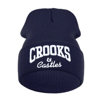 Crooks And Castles Beanie Winter Cotton Warm Knitted Womens & Mens Blue Cuffed Skully Hat