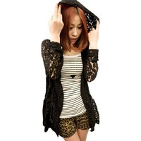 Allegra K Women Open Front Cardigan See Through Casual Lace Hoodies