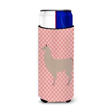Llama Pink Check Michelob Ultra Hugger for slim cans