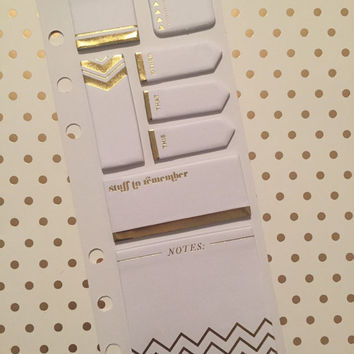New! White & Gold Foil Accents Recollections Mini Sticky Notes Set