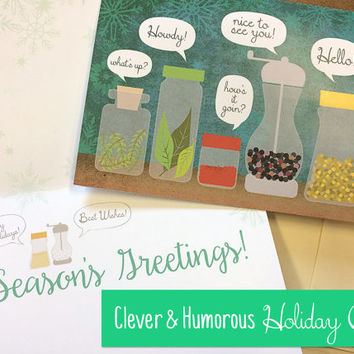 Seasons Greetings Humor Holiday Christmas Greeting Card Pack - Clever, Funny, Spices Saying Hello