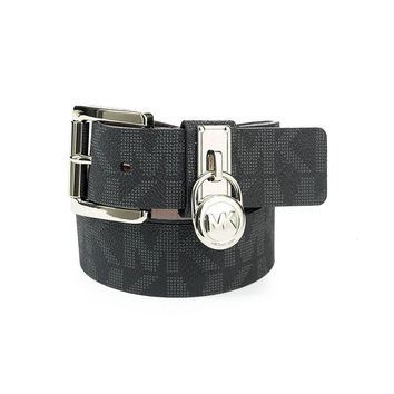Michael Kors Hamilton Lock Monogram Belt - Black L