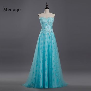 Menoqo Real Images Long A Line Prom Gowns robe de soiree 2017 New Sleeveless Elegant luxury Formal Party Prom Dresses