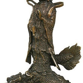 Kuan-Yin with Fierce Dragon Waters of Compassion Buddhism Bronze Metal Statue 10H