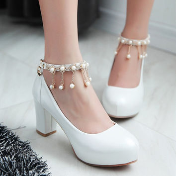2016 Spring And Autumn New Korean Female Platform Pumps Women Chunky Heel High-heeled Shoe White Mary Jane Wedding Shoes Woman