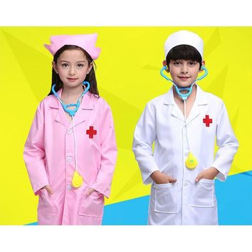 Cool Kids Doctor Cosplay Costumes Baby Girls Nurse Uniforms Role Play Halloween Party Wear Fancy 5PCs Girls Cosplay Doctor JacketAT_93_12