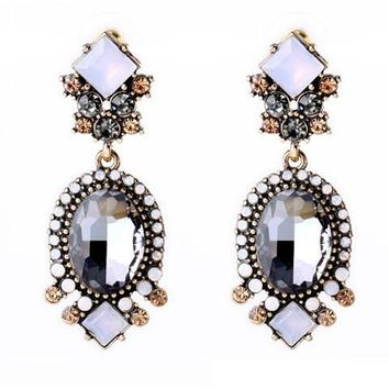 Pair of Classic Faux Crystal Square Oval Earrings For Women   Black