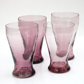 Vintage Hand Blown Glassware / SET of 4 / Lilac Glass / Barware