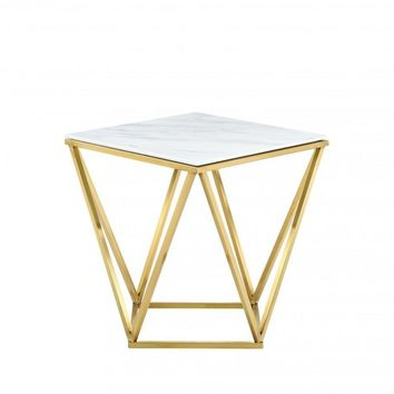 Mason Gold End Table Genuine White Marble Top