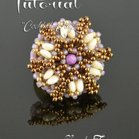 Cocktail ring - seed bead pattern, Rizo bead pattern, beadwoven ring tutorial, beading tutorial, beaded ring pattern / TUTORIAL ONLY