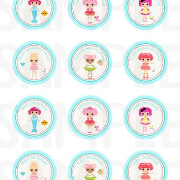 Lalaloopsy inspired birthday Stickers, Cupcake Topper, Tags, party label. Party printable. Digital file