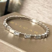 Bvlgari New Fashion Diamond Hollow High Quality Bracelet Women Silver