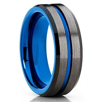 Blue Tungsten Ring - Blue Wedding Band - Gunmetal Ring - Gray