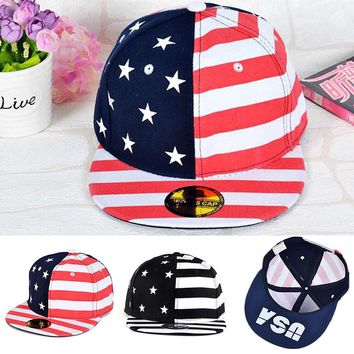 Unisex Outdoor Sports Caps Hip Hop Adjustable Hats Stars and strips USA Flag Style Mens Womens Boys Tennis Cap