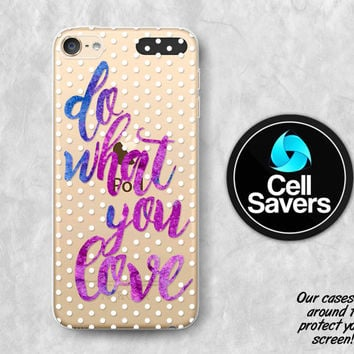 Do What You Love Clear iPod 5 Case iPod 6 Case iPod 5th Generation iPod 6th Case Gen Clear Case Purple Quote Watercolor Polka Dot Pattern