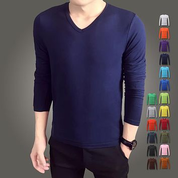Spring high-elastic cotton t-shirts men's long sleeve v neck tight t shirt
