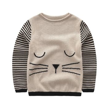 Sweater baby girl clothes 2017 new cardigan for the girl cute cat pattern pullover 100% cotton high quality kids Knitted sweater