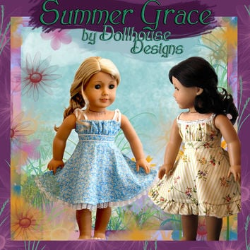 "Summer Grace Sewing Pattern by Dollhouse Designs for 18"" Dolls Sundress Dress DIGITAL DOWLLOAD"