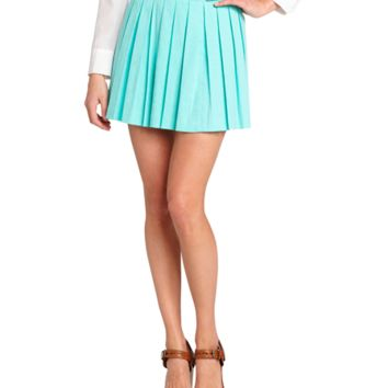 Alice & Olivia Aqua Splash Linen-Cotton Blend 'leah' Box Pleat Skirt | Bluefly