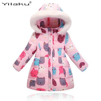 2017 Fashion Girls Long Winter Down Coat Cotton Jackets Extra Thick Warm Children's Winter Clothing Outerwear&Coats