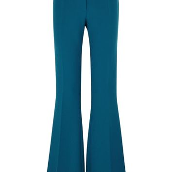 Teal high-waisted flared trousers