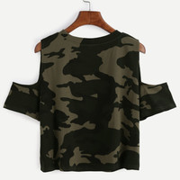 Camo Print Ripped Open Shoulder T-shirt