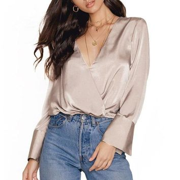 High Quality Deep V-Neck Silk/Satin Long Sleeve Satin Blouse