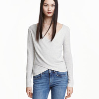 Ribbed Wrapover Top - from H&M