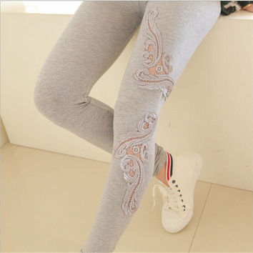 Women's Sheer Crochet Cotton Floral Lace Flare Tight Leggings Pants Trousers_TQ = 1930525444